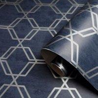 Holden décor Zadie Navy Geometric Metallic Wallpaper
