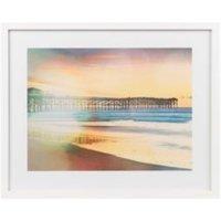 California jetty White Framed art (W)530mm (H)430mm