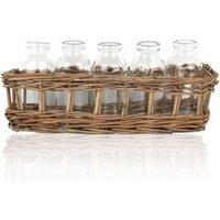 Sil Cream Glass & wicker Bottles in wicker basket