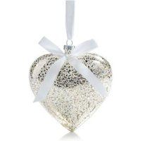 Silver Effect Glass Hanging Heart  Small