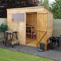 8X6 Pent Shiplap+ Wooden Shed with Assembly Service Base Included