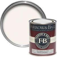 Farrow & Ball Estate Eggshell All White No.2005 Silk Sheen Estate Eggshell Paint 750 ml