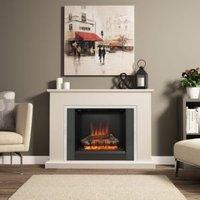 Be Modern Ashburnham Black & Chrome effect LED Electric fire suite