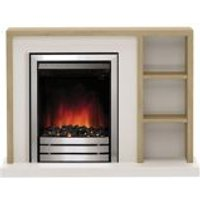 Be Modern Eccleston Oak brown Chrome effect Electric Fire Suite