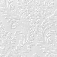 Anaglypta Luxury White High traditional Textured Paintable Wallpaper