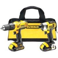 DeWalt XR 1.3Ah Li-ion Hammer drill driver & impact driver 2 batteries DCZ298C2-GB