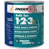 Zinsser Bulls Eye 1-2-3 White Multi-surface Primer sealant & stain block 1L