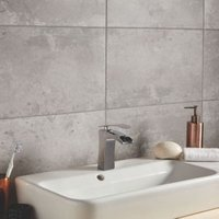 Lofthouse Steel Concrete effect Ceramic Wall & floor tiles  Pack of 6  (L)498mm (W)298mm