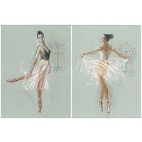 Ballerina Multicolour Canvas art Set of 2 (H)770mm (W)570mm