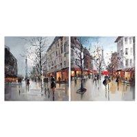 Paris street scenes Multicolour Canvas art Set of 2 (H)400mm (W)400mm