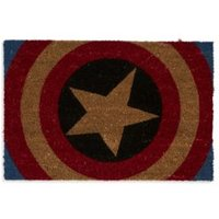 marvel red  blue and natural captain america coir door mat (l)400mm (w)600mm