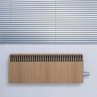 Jaga Knockonwood Horizontal Wooden cased radiator Oak veneer (H)300 mm (W)1400 mm