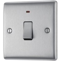 British General 20A Single Brushed steel Switch with neon