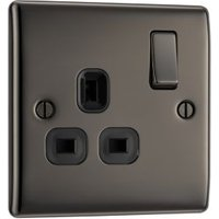British General 13A Black Nickel Switched Single Socket