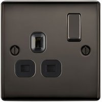 British General 13A Black Nickel effect Single Switched Socket