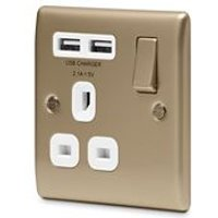 British General 13A Pearl nickel Switched Single Socket & 2 x USB
