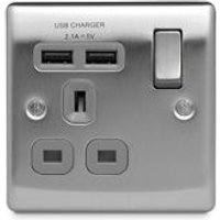 British General Brushed Steel effect Single USB socket 2 x 2.1A USB.
