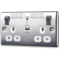 British General 13A Chrome effect Metal Double Socket with USB.