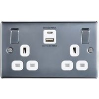British General 13A Polished Metal Double Socket with USB.