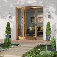 Golden Oak Timber Glazed Folding Patio door  (H)2094mm (W)1794mm