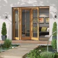 Golden Oak Timber Glazed Folding Patio door  (H)2094mm (W)2394mm