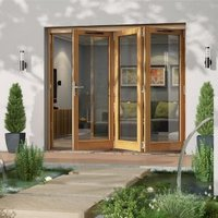 Golden Oak Timber Glazed Folding Patio door  (H)2094mm (W)2394mm