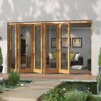 Jeld-Wen Canberra Clear Glazed Golden Oak LH External Folding Patio Door set (H)2094mm (W)3594mm