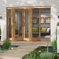 Golden Oak Timber Glazed Folding Patio door  (H)2094mm (W)2994mm