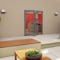 Grey Timber Glazed Folding Patio door  (H)2094mm (W)1794mm
