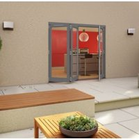 Grey Timber Glazed Folding Patio door  (H)2094mm (W)2094mm