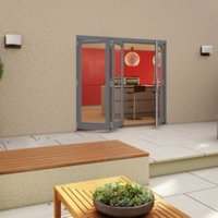 Grey Timber Glazed Folding Patio door  (H)2094mm (W)2394mm