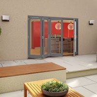 Grey Timber Glazed Folding Patio door  (H)2094mm (W)2994mm