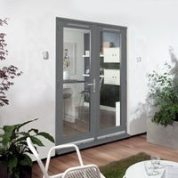 Clear Glazed Grey Fully Finished Timber External French Door Set  (H)2094mm (W)1494mm