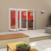 White Timber Glazed Folding Patio door  (H)2094mm (W)2994mm