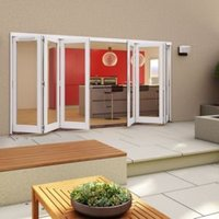 White Timber Glazed Folding Patio door  (H)2094mm (W)4194mm
