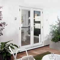 Clear Glazed White Fully Finished Timber External French Door Set  (H)2094mm (W)1194mm