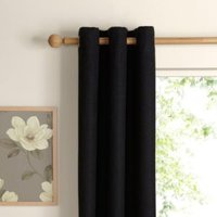 Carina Charcoal Plain Woven Eyelet Lined Curtains (W)228 cm (L)228 cm