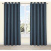Salla Denim Plain Woven Eyelet Lined Curtains (W)117 cm (L)137 cm