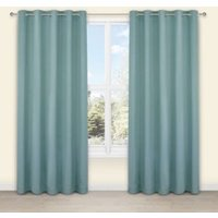 Salla Duck egg Plain Woven Eyelet Lined Curtains (W)228 cm (L)228 cm