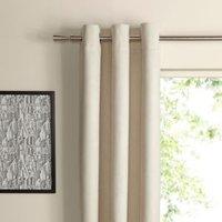 Suedine Ecru Plain Woven Eyelet Curtains (W)117 cm (L)137 cm
