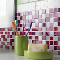 Red Glass Mosaic tile  (L)300mm (W)300mm