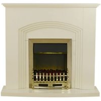 Blyss Kirkdale Cream & Brass effect Electric fire suite
