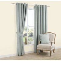 Carina Duck Egg Plain Woven Eyelet Lined Curtains (W)228 cm (L)228 cm