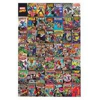 Marvel Comic montage Multicolour Canvas art (H)900mm (W)600mm