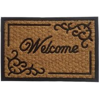 b&q black and natural coir and rubber door mat (l)400mm (w)400mm
