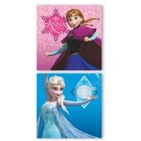 Frozen Elsa & Anna Blue & Pink Wall Art (W)45cm (H)45cm