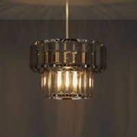 Colours Bayano Smoke Carved Crystal Effect Light Shade (D)220mm