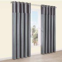 Linnet Concrete Panelled Velvet & Faux Silk Eyelet Lined Curtains (W)167 cm (L)183 cm