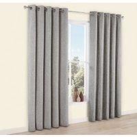 Thornbury Grey Chenille Eyelet Lined Curtains (W)167 cm (L)183 cm