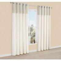 Linnet Limestone Panelled Velvet & Faux Silk Eyelet Lined Curtains (W)228 cm (L)228 cm